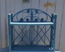 Light Blue Wicker Wood and Rattan Hanging Display Wall Shelf