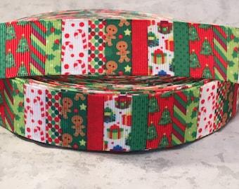 Christmas Ribbon - 7/8 Inch Grosgrain -Christmas Holiday Designed Grosgrain Ribbon - Christmas Craft Supply
