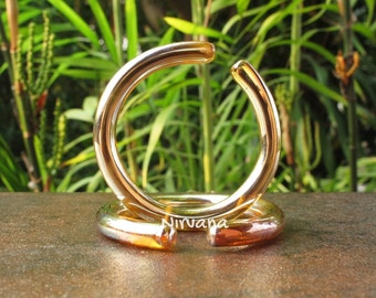 "Nirvana's Silver/Gold Color Glass Hoops 10g 8g 6g 4g 2g 0g 00g 7/16"" 1/2"" 9/16"" 5/8"" 2.5 mm 3 mm 4 mm 5 mm 6 mm 8 mm 10 mm - 16 mm"