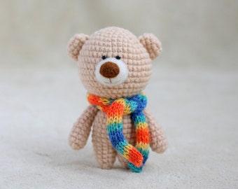 Crochet amigurumi teddy bear in the scarf - small teddy bear, personalized bear gift, birthday bear, Valentine teddy bear MADE TO ORDER