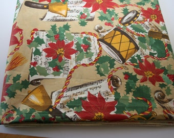"""CHRISTMAS Tablecloth, UNUSED Vintage, Dining Table Linens, Holidays, Rectangle, 63"""" x 105"""", Musical, poinsettias Made in Spain"""