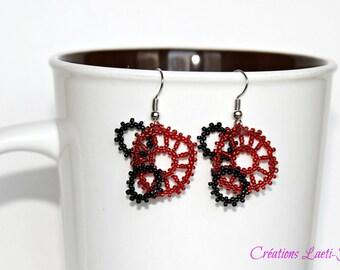 peyote dangle earrings, steampunk jewelry, steampunk earrings, Gear earrings, gift for her, peyote earrings, beaded earrings