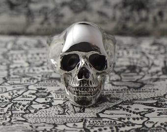 Sterling silver skull ring. Full skull ring for men. Sterling skull ring. Silver ring for him. Gift for boyfriend. Psychobilly ring.
