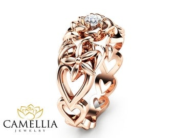 Natural Diamond Flower Engagement Ring in 14K Rose Gold Heart Shaped Engagement Ring Unique Design Diamond Ring Floral Ring