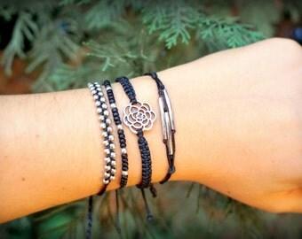 Black Boho Bracelet Set, macrame bracelet stack, pura vida bracelet, woven bracelet, mothers day from daughter, mothers day gift mom gifts
