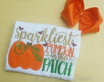 Girl Halloween Shirt, Sparkliest Pumpkin in the Patch, Pumpkin Patch Shirt, Fall Girl Shirt, Baby Girl Pumpkin, Girl Halloween Outfit