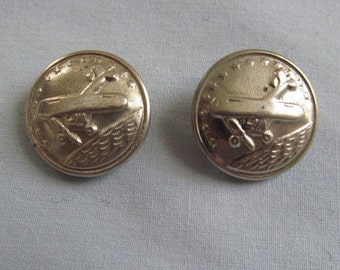 Two Buttons, Vintage Airplane Design, Silvery Metal, Propeller Aircraft