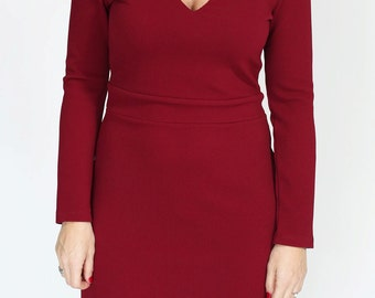 Red wine mini casual  a line dress winter dress with long sleeve and v neck with texture