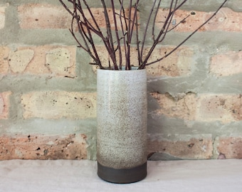 Brown & White Ombré Ceramic Cylinder Vase by Barombi Studios