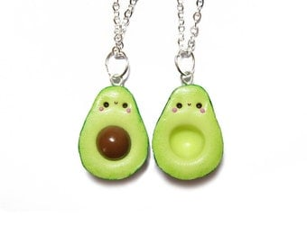 Kawaii Avocado Necklaces, Kawaii Avocado Best Friends Necklaces, Polymer Clay Charms, Best Friend Necklace For 2, Food Jewelry