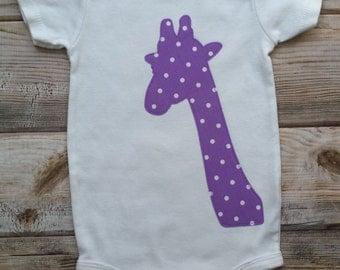 Giraffe Onesie-Giraffe Bodysuit-Baby Girl Onesie-New Baby Girl-Baby Girl Shower Gift-Zoo Birthday-Animal Bodysuit-Purple Baby Girl Gift