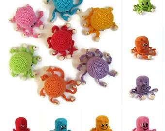 SET Rattle Octopus Baby Toy crochet Toddler gift grasping Baby shower gift Sensory noise maker nursery amigurumi animal fun toys boy gift