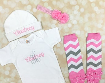 Baby Girl Coming Home Outfit - Personalized Bodysuit Newborn Girl Outfit - Personalized Baby Hat - Monogram Gown -Personalized Baby Clothes