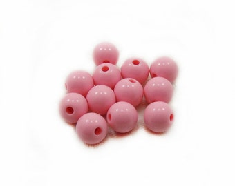 Pink Plastic Beads, Plastic Beads, Acrylic Pink Beads, 8mm Pink Beads, Round Beads, 10pcs Pink Acrylic Beads, Jewelry Making, Craft Supplies