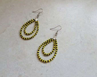 Team Spirit Earrings, Seed Bead Earrings, Seed Bead Jewelry, Yellow Black Earrings, Multicolor Earrings, Multicolor Jewelry, Team Spirit