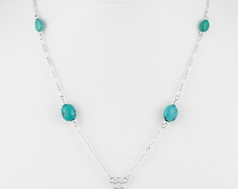 Turquoise Silver Leaf Necklace