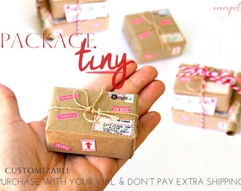 Tiny Packages. Thoughtful Gifts. Packaging for bottle's message. Personalized gift. Valentine.  World's Smallest Package