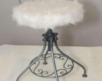 SOLD-UpCycled Vintage Hollywood Regency Adjustable Vanity Chair/Stool Pewter Powder Puff Seat