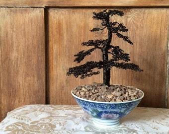 Delicate Wire Bonsai Tree Sculpture in Detailed Floral Pot