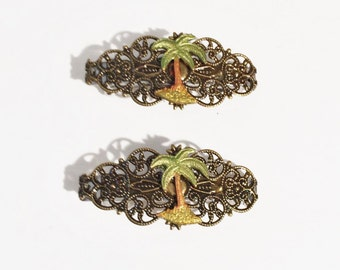 Two Hair Barrettes Palm Trees, pair french barrettes