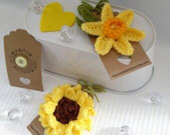 Sunflower crochet flower brooch corsage