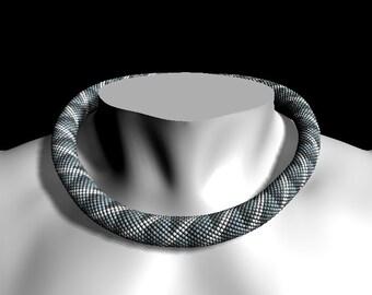 "Bead crochet pattern for beading necklace ""Grey ribbon"" - Bead crochet rope pattern - PDF file - Beaded necklace pattern - Pattern Only"