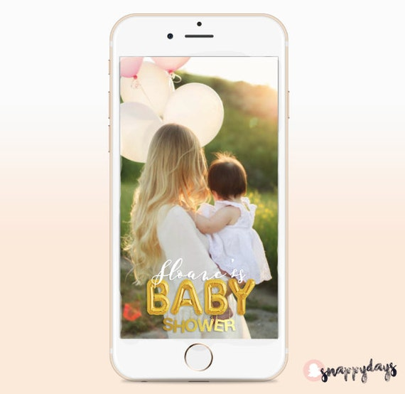 snapchat geo filter with gold balloons baby shower by snappydaysco. Black Bedroom Furniture Sets. Home Design Ideas