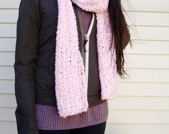 Soft and Cozy Long Scarf Knit in Sparkly Pink with Lace Look Design - Can Convert to Infinity Scarf