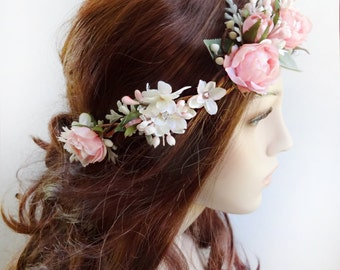 bridal hair piece, floral crown wedding, bridal flower crown, bridal headpiece flower, crystal, pink flower crown, woodland crown, rosebuds