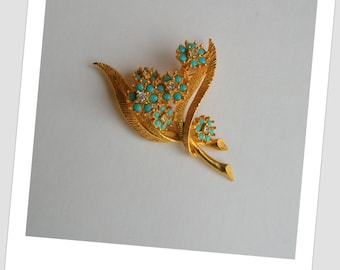 Vintage 1950's Turquoise Glass Beads and Rhinstone Flower Brooch