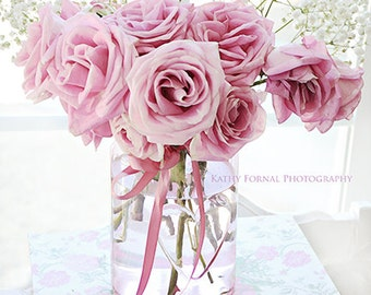 Roses Photography, Pink Flower Photos, Pink Roses Print, Shabby Chic Wall Art,Baby Girl Nursery Decor, Pink Flower Prints, Shabby Chic Roses