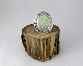 Green Druzy Quartz Sterling Silver Ring
