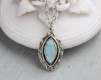 Blue Quartz OR Rose Quartz Necklace. Gemstone Necklace.