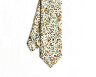 LAST ONE // Hannah - Mustard Yellow Floral Men's Tie
