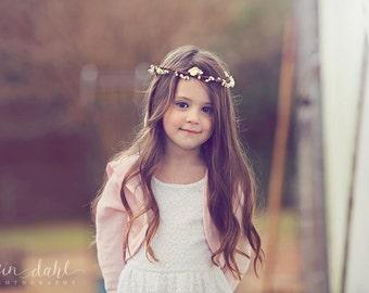 ELENI Cream Marshmallow Wreath - Fairy Flower Girl Halo, Cream Circlet Head band - Woodland wreath - flower girl headpiece - Birthday wreath
