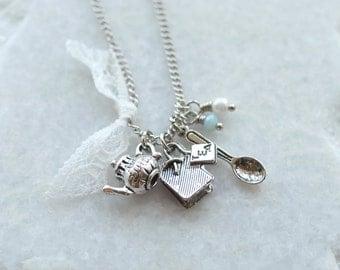 Teapot Necklace . Tea Bag . Tea Lover . Alice in Wonderland Charm Jewellery . Mad Hatter Tea Party . Tea Pot Jewellery Jewelry