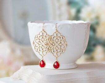 Gold Filigree Earrings, Red Glass Jewel Dangle Earrings, Gold and Red Wedding Jewelry, Boho Chic Bohemian Earrings, Statement Earrings