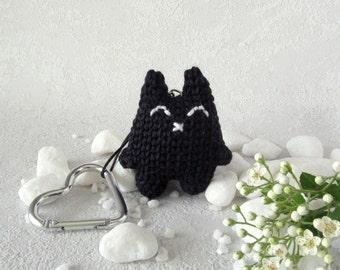 Keyring Black Cat, Charm Pendant Kitty, funny accessory, feline charm bag, miniature kitten, for animal lovers, funny gift purring tomcat