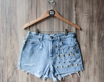 High waisted vintage denim shorts | Studded ripped distressed shorts | Hipster shorts | Festival shorts | Distressed denim shorts |