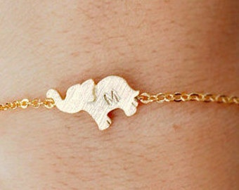 Elephant anklet, sterling silver anklet, initial anklet, Personalized Jewelry, friendship anklet, handstamp initial, christmas gift