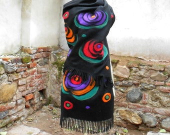Blanket Wrap Scarf, Felted Cashmere Scarf With Abstract Roses, Christmas Gift For Her