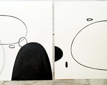Set of two original paintings.  Original ink painting. Abstarct. Modern loft decor. Modern rustic. Shapes.