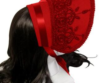 Scarlet Red Victorian Rose Bonnet - Made to Order