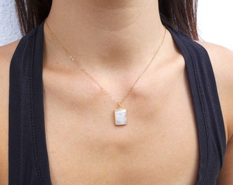 Rainbow Moonstone Necklace, Gold Moonstone Necklace, Moonstone Pendant, June Birthstone