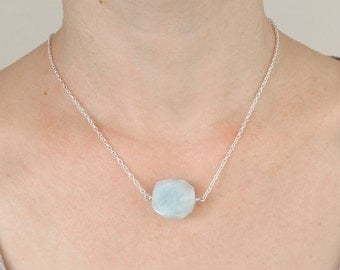 Aquamarine Necklace, Raw Aquamarine Nugget Necklace with Sterling Silver Chain