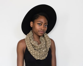 Henna Infinity Scarf - Hand block printed, All Natural Vegetable Dyes, 100% Cotton Loop Scarf, Infinity Cowl, Tube Scarf0