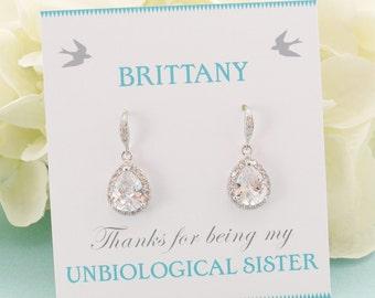 Personalized Bridesmaid Gift, Bridesmaid Earrings, Bridesmaid Jewelry Set, Bridal Earrings, Wedding Earrings, Mother of Bride Jewelry Set