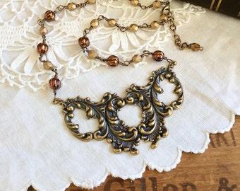 Victorian Scroll Statement Necklace - period necklace bronze statement necklace