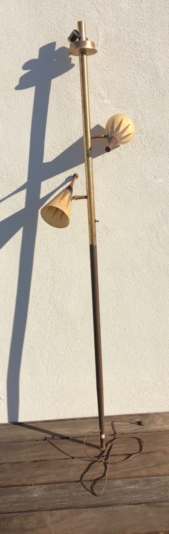 Mid Century Modern Lamp Shades Salvaged Lamp Pole Two Retro