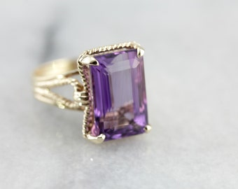Bold Amethyst Ring with Rope Design in Yellow Gold 05JPPZ-P